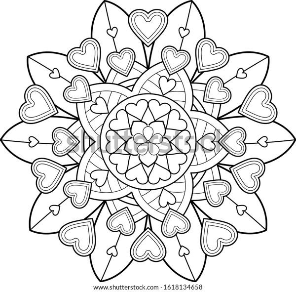 Big Mandala Art Kids Meditation Color Stock Illustration 1618134658