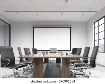 Big meeting room, blank poster on white wall behind table. Concept of negotiations. Front view. 3D rendering