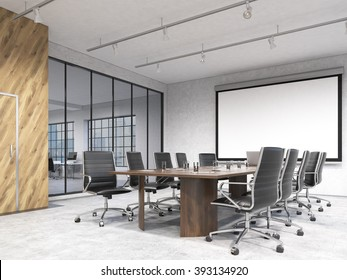 Big meeting room, blank poster on white wall behind table. Concept of negotiations. 3D rendering