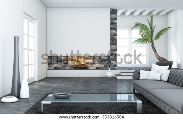 Big Modern Living Room Chimney 3d Stock Illustration 353816504