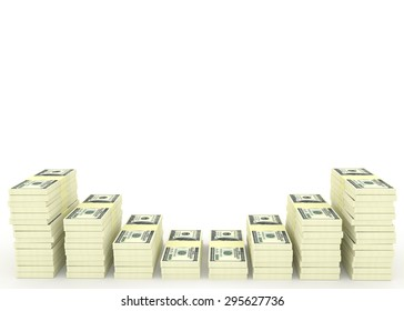 Big money stacks from dollars with blank space for your text