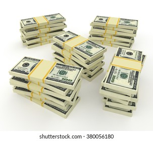 Big money stacks from dollars isolated on white