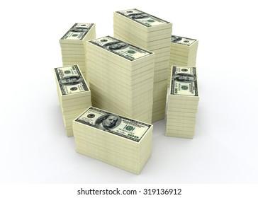 Big money stacks from dollars usa. Finance conceptual