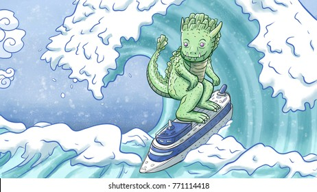 Big monster surfing on a ship