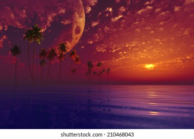 big moon in clouds over coconut island purple sunset. Elements of this image furnished by NASA