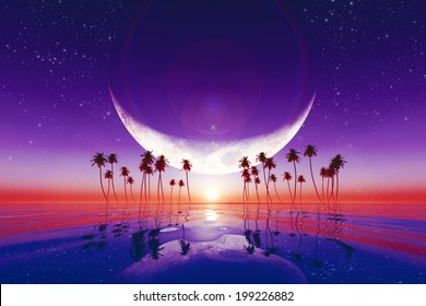 big moon over purple sunset at tropical sea with stars. Elements of this image furnished by NASA