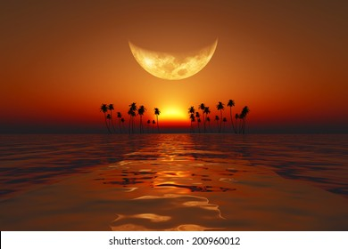 big moon over red sunset at tropical sea. Elements of this image furnished by NASA