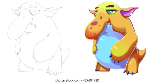 Big Nose Blob Fish Monkey Creature. Coloring Book, Outline Sketch, Monster Mascot Character Design isolated on White Background