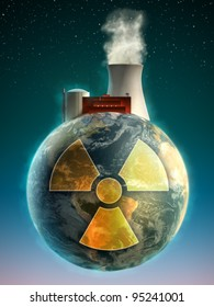 Big nuclear power plant on top of the Earth. Digital illustration.