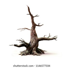 big old dead tree, isolated with shadow on white background, 3d illustration