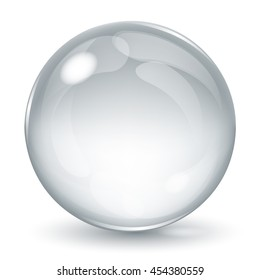 Big opaque sphere with glares and shadow on white background