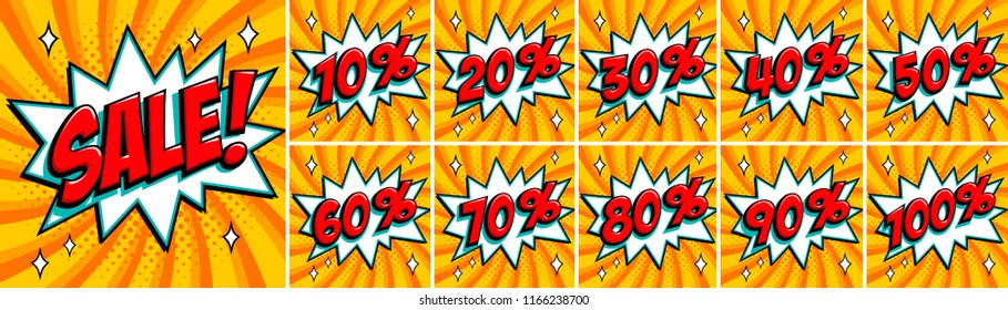 Big orange sale set. Sale inscription and all percent numbers 10%, 20%, 30%, 40%. 50%, 60%, 70%, 80%, 90%, 100% in orange and red colors. Pop-art comics style web banners, flash animation, stickers