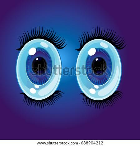 Big Oval Cartoon Eyes Wide Open Stock Illustration 688904212