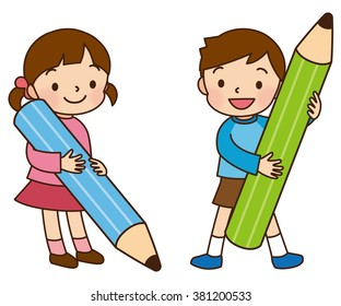 """the Big pencil and little kids """"Lines and color"""""""