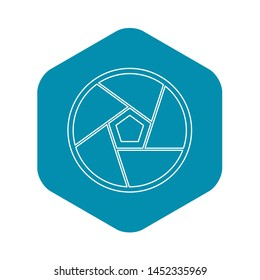 Big photographic lens icon. Outline illustration of bog photographic lens icon for web