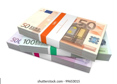 big pile of euro banknotes from 50 to 500 Euros with wrapper / banderole