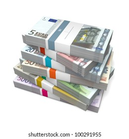 big pile of euro banknotes from five to 500 Euros with wrapper / banderole
