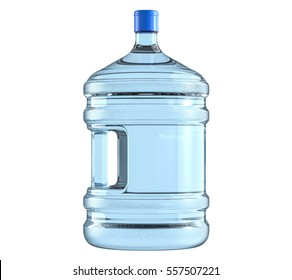 Big plastic barrel, gallon bottle with a handle for office water cooler. 3D render, isolated on white background.