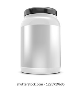 Big plastic protein jar,sport nutrition container with blank label on white background 3d illustration