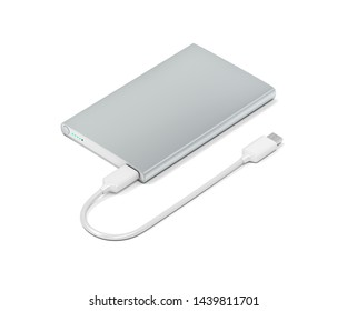 Big power bank with usb-c cable on white background, 3D illustration