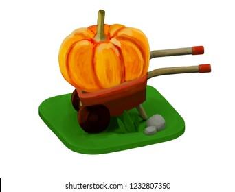 big pumpkin in a wheelbarrow illustration