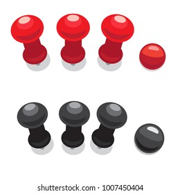Big pushpins of red and black colors isolated on white background. Adjustment to fasten paper to wall or point places on world map  illustration. Small and simple stationary stuff.