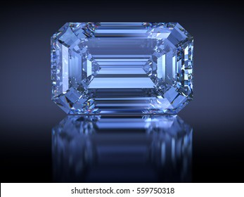 Big rectangle emerald-cut Oppenheimer Blue diamond with reflection on dark blue background. Photo-realistic 3D rendering illustration image