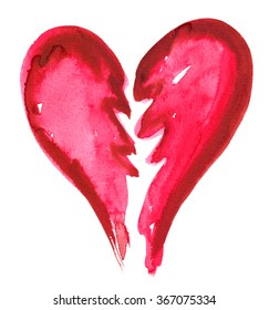 Big red broken heart painted in watercolor on white isolated background