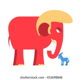 Big Red Elephant and little blue donkey symbols of political parties in America. Democrats against Republicans. Opposition to USA policy. Symbol of state debate.  American elections