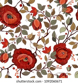 Big red flowers on the white background. Colorful floral pattern. Wallpaper with big illustration flowers. Hand drawn flowers. Vector illustration