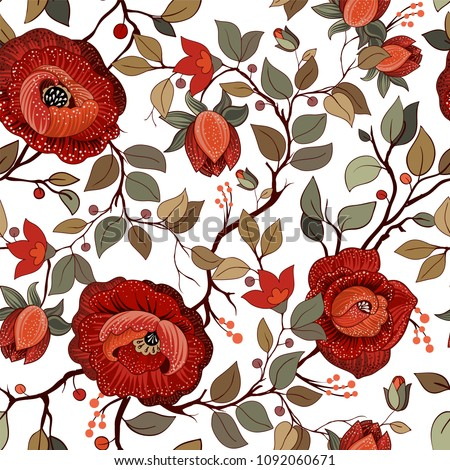 Big red flowers on white background stock illustration 1092060671 big red flowers on the white background colorful floral pattern wallpaper with big illustration mightylinksfo