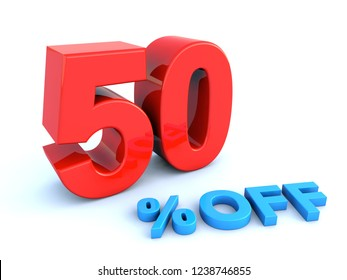 Big red glossy 50 percent off sign on white background 3D render