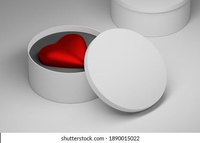 Big red heart in white round box with blank space. Template with packaging boxes. 3d illustration.