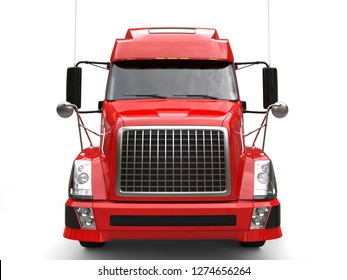Big red modern semi - trailer truck - front view - 3D Illustration