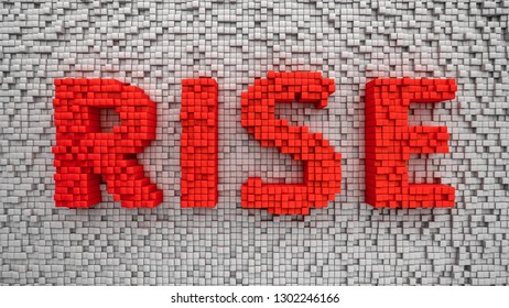 Big red word Rise made from cubes. 3D illustration for banner or title