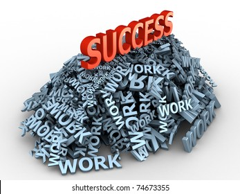 """The big red word """"success"""" on the big pile of words """"work"""""""