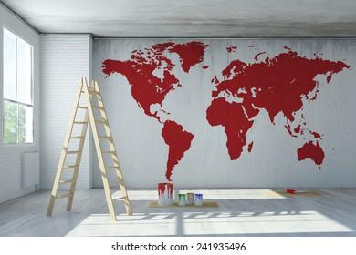 Imágenes Fotos De Stock Y Vectores Sobre World Map Room