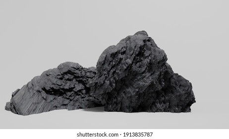 Big rocks that are strong, beautiful, look very realistic, white background. Make it easier for you to use in video editing 3D rendering.