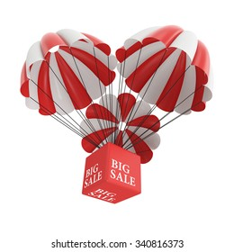 Big sale parachute on White Background