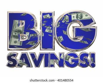 Big Savings Money 3d Words Sale Discount Deal Offer