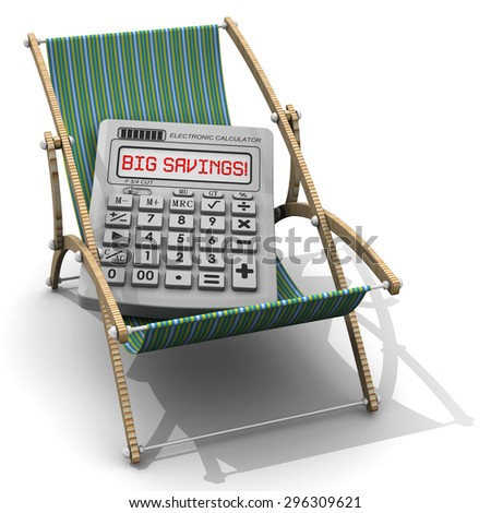 big savings on vacation electronic calculator stock illustration