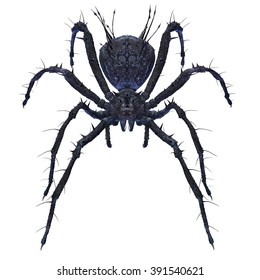 Big scary spider isolated on white with clipping path. CG illustration.