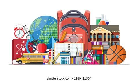 Big school set. Different school supplies, stationery. Note globe paint pencil pen calculator backpack clock scissors ball apple building schoolbus ruler atom. illustration in flat style