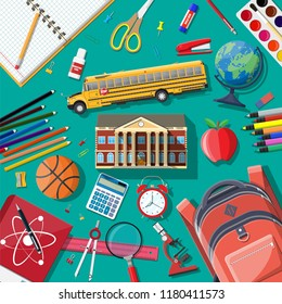 Big school set. Different school supplies, stationery. Note globe paint pencil pen calculator backpack clock scissors ball apple building schoolbus ruler atom. illustration in flat style
