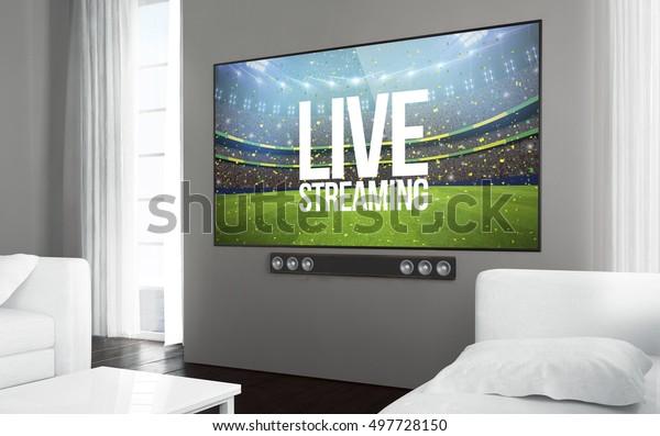 Big Screen Smart Tv Living Room Stock Illustration 497728150
