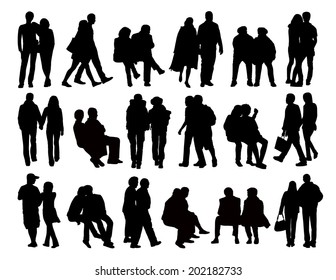big set of black silhouettes of heterosexual couples of different ages standing, walking and sitting in the street, front, profile and back views