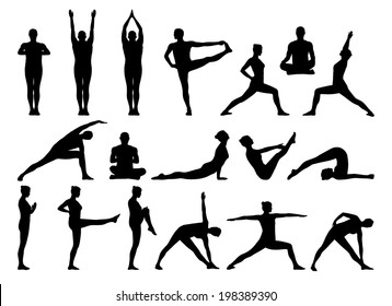 big set of black silhouettes of man and woman practicing yoga in different postures standing and on the floor