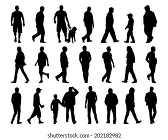big set of black silhouettes of men of different ages walking in the street