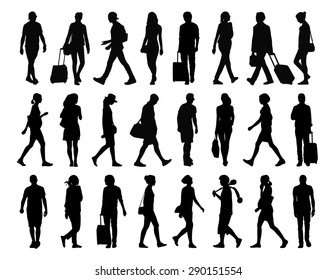 big set of black silhouettes of ung adult men and women walking in the street, front, profile and back views