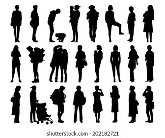 big set of black silhouettes of women of different ages standing in different postures, face, profile and back views